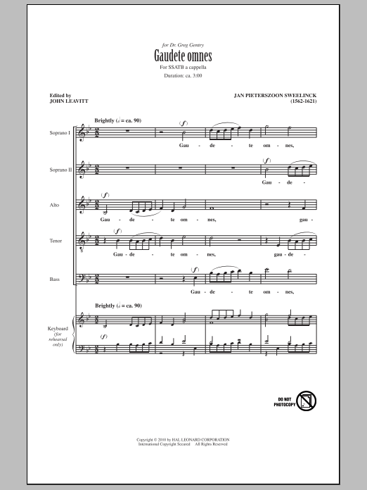 John Leavitt Gaudete Omnes sheet music notes and chords