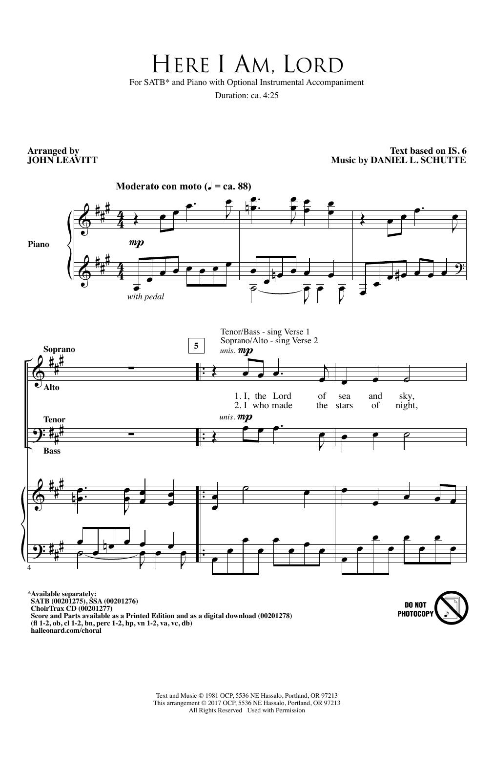 John Leavitt 'Here I Am, Lord' Sheet Music Notes, Chords | Download  Printable SATB Choir - SKU: 185950