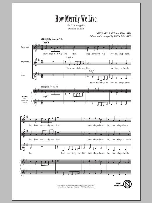John Leavitt How Merrily We Live sheet music notes and chords. Download Printable PDF.