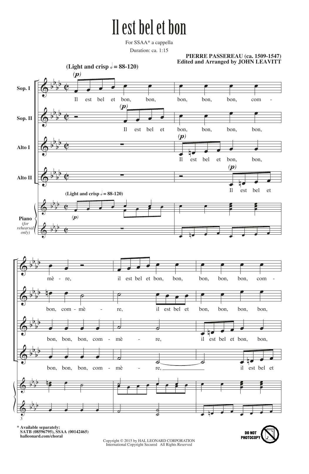 John Leavitt Il Est Bel Et Bon (A Good And Handsome Man) sheet music notes and chords. Download Printable PDF.