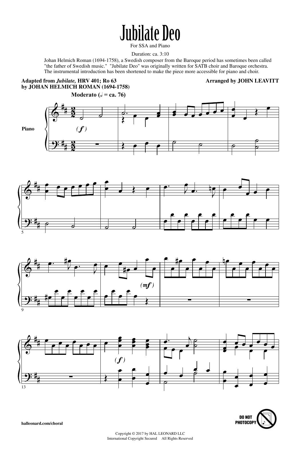 John Leavitt Jubilate Deo sheet music notes and chords. Download Printable PDF.
