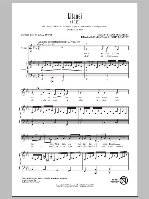 Franz Schubert Litanei (arr. John Leavitt) sheet music notes and chords. Download Printable PDF.
