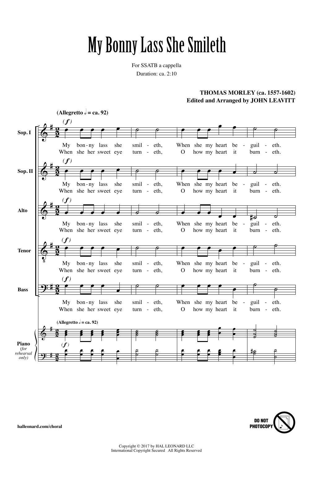 John Leavitt My Bonny Lass She Smileth sheet music notes and chords. Download Printable PDF.
