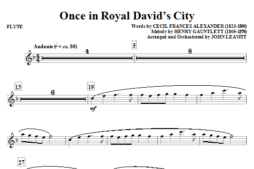 John Leavitt Once in Royal David's City - Flute sheet music notes and chords. Download Printable PDF.