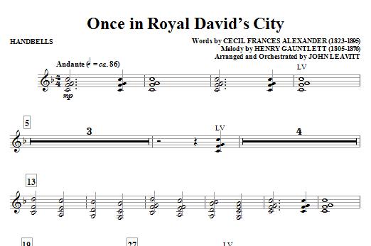 John Leavitt Once in Royal David's City - Handbells sheet music notes and chords. Download Printable PDF.