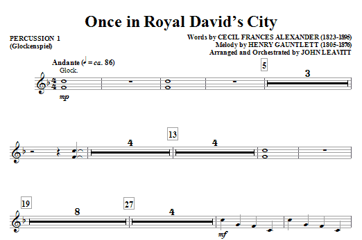 John Leavitt Once in Royal David's City - Percussion 1 sheet music notes and chords. Download Printable PDF.
