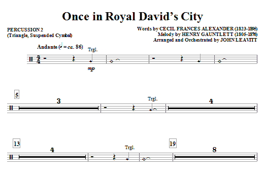 John Leavitt Once in Royal David's City - Percussion 2 sheet music notes and chords. Download Printable PDF.