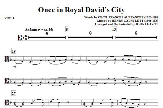 John Leavitt Once in Royal David's City - Viola sheet music notes and chords. Download Printable PDF.