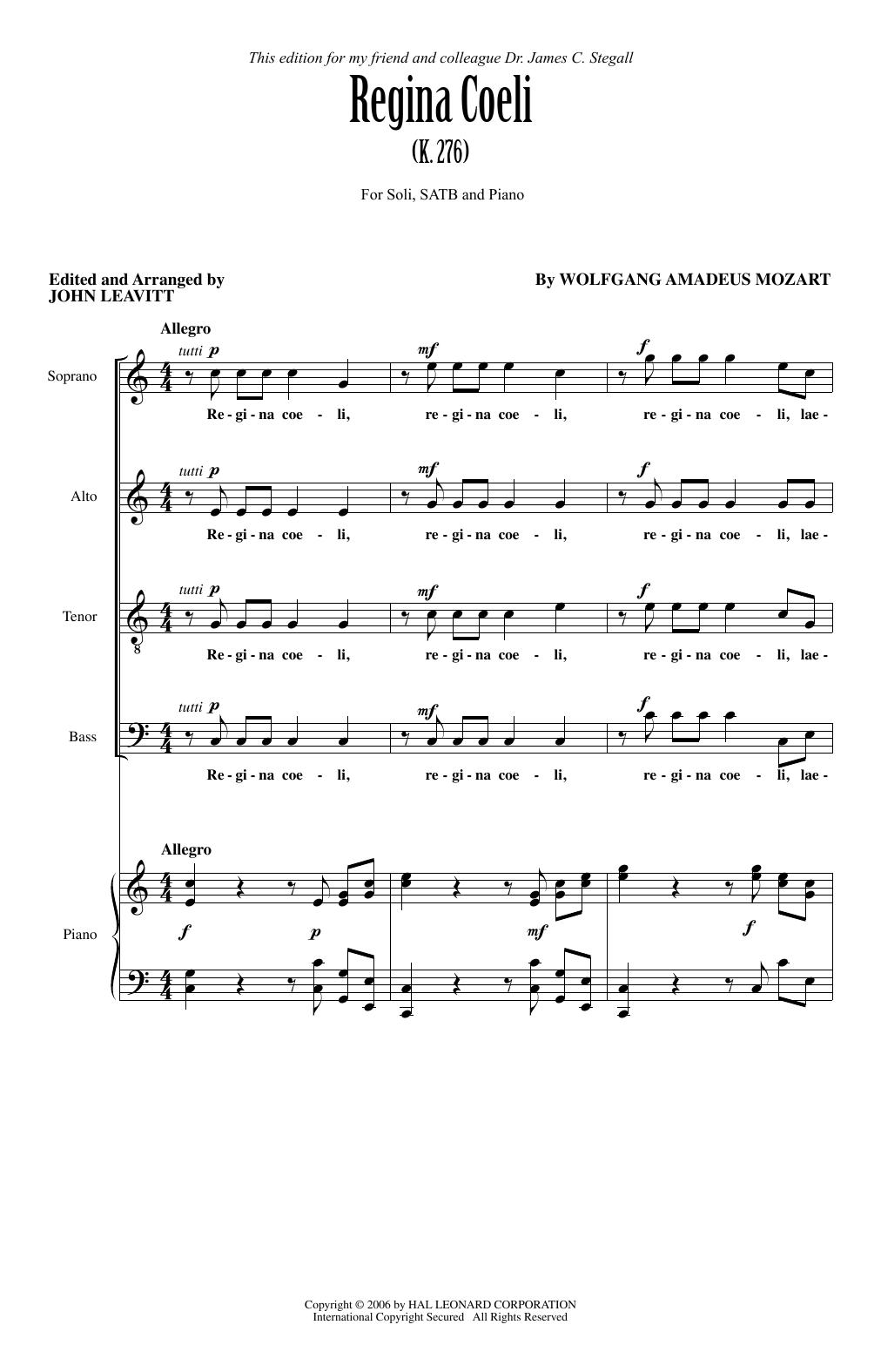 John Leavitt Regina Coeli KV276 sheet music notes and chords. Download Printable PDF.
