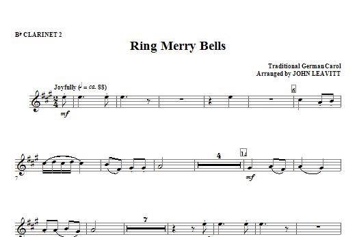 John Leavitt Ring Merry Bells - Bb Clarinet 2 sheet music notes and chords. Download Printable PDF.