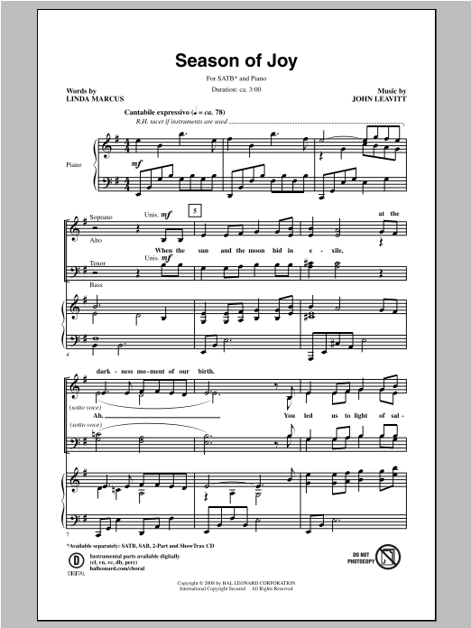 John Leavitt Season Of Joy sheet music notes and chords. Download Printable PDF.