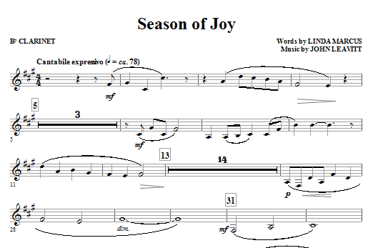 John Leavitt Season Of Joy - Bb Clarinet sheet music notes and chords. Download Printable PDF.