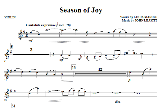 John Leavitt Season Of Joy - Violin sheet music notes and chords. Download Printable PDF.