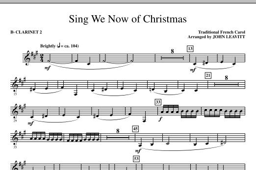 John Leavitt Sing We Now Of Christmas - Bb Clarinet 2 sheet music notes and chords. Download Printable PDF.
