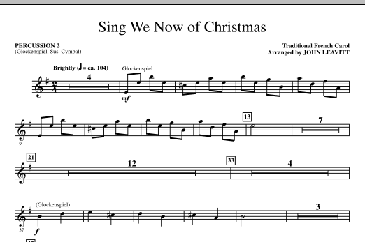 John Leavitt Sing We Now Of Christmas - Percussion 2 sheet music notes and chords. Download Printable PDF.
