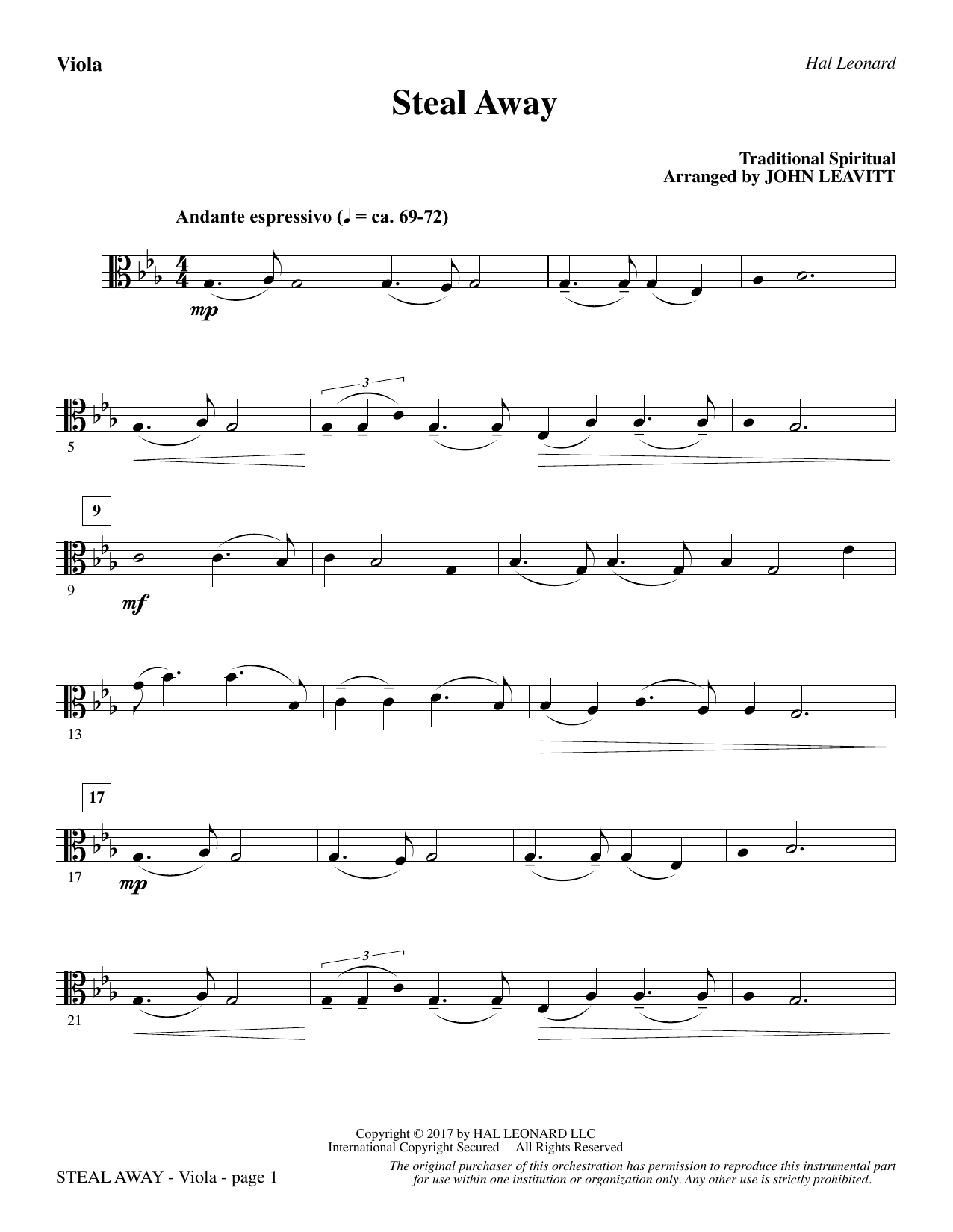 John Leavitt Steal Away - Viola sheet music notes and chords. Download Printable PDF.