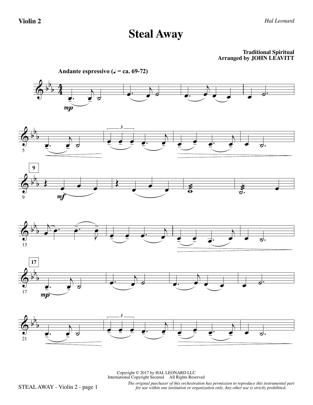 John Leavitt Steal Away - Violin 2 sheet music notes and chords. Download Printable PDF.