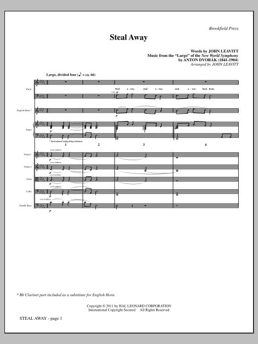John Leavitt Steal Away (Steal Away To Jesus) - Full Score sheet music notes and chords. Download Printable PDF.