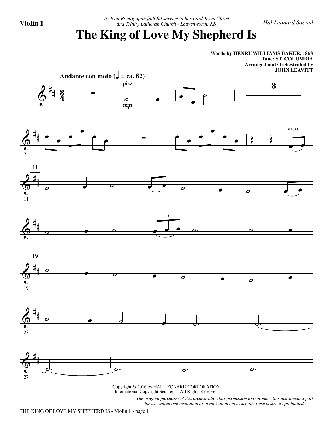 John Leavitt The King Of Love My Shepherd Is Violin 1 Sheet Music Pdf Notes Chords Sacred Score Choir Instrumental Pak Download Printable Sku 356388