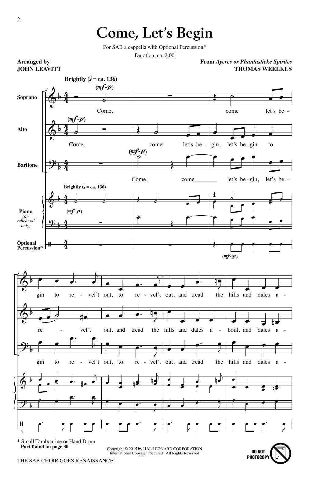 John Leavitt The SAB Choir Goes Renaissance sheet music notes and chords. Download Printable PDF.
