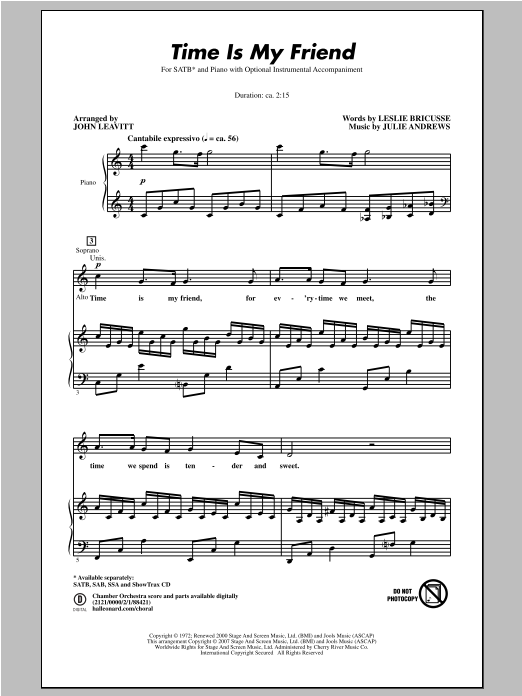John Leavitt Time Is My Friend sheet music notes and chords. Download Printable PDF.