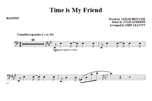 John Leavitt Time Is My Friend - Bassoon sheet music notes and chords. Download Printable PDF.