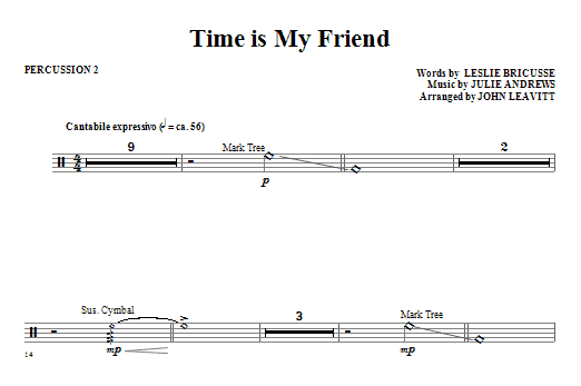 John Leavitt Time Is My Friend - Percussion 2 sheet music notes and chords. Download Printable PDF.