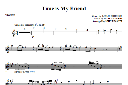 John Leavitt Time Is My Friend - Violin 1 sheet music notes and chords. Download Printable PDF.