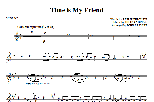 John Leavitt Time Is My Friend - Violin 2 sheet music notes and chords. Download Printable PDF.