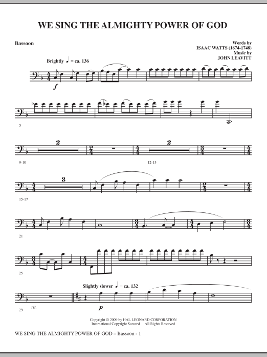 John Leavitt We Sing The Almighty Power Of God - Bassoon sheet music notes and chords. Download Printable PDF.