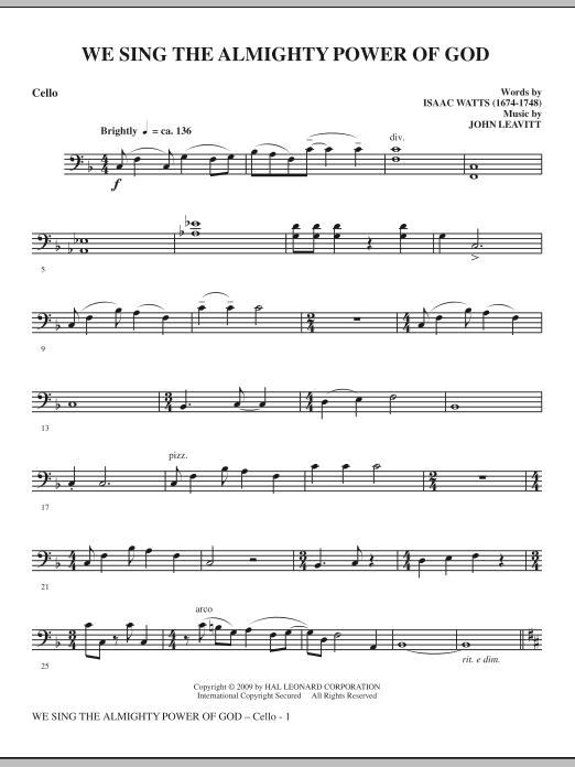 John Leavitt We Sing The Almighty Power Of God - Cello sheet music notes and chords. Download Printable PDF.