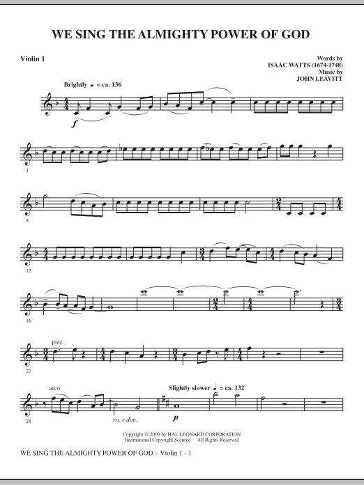 John Leavitt We Sing The Almighty Power Of God - Violin 1 sheet music notes and chords. Download Printable PDF.