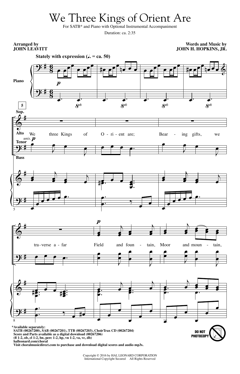 John Leavitt We Three Kings Of Orient Are sheet music notes and chords. Download Printable PDF.