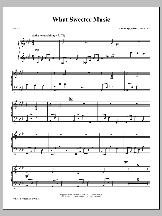 John Leavitt What Sweeter Music - Harp sheet music notes and chords. Download Printable PDF.