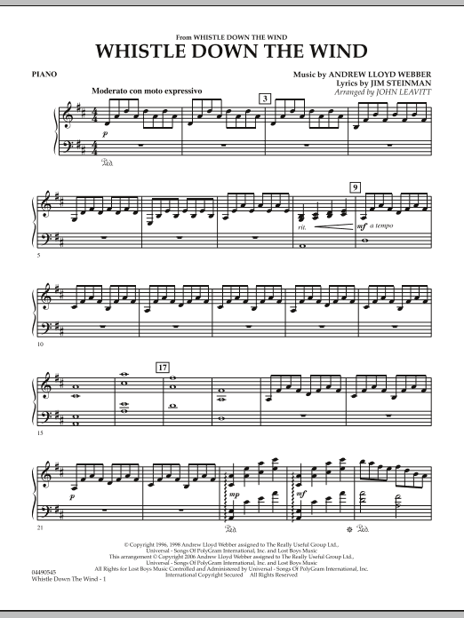 John Leavitt Whistle Down The Wind - Piano sheet music notes and chords. Download Printable PDF.