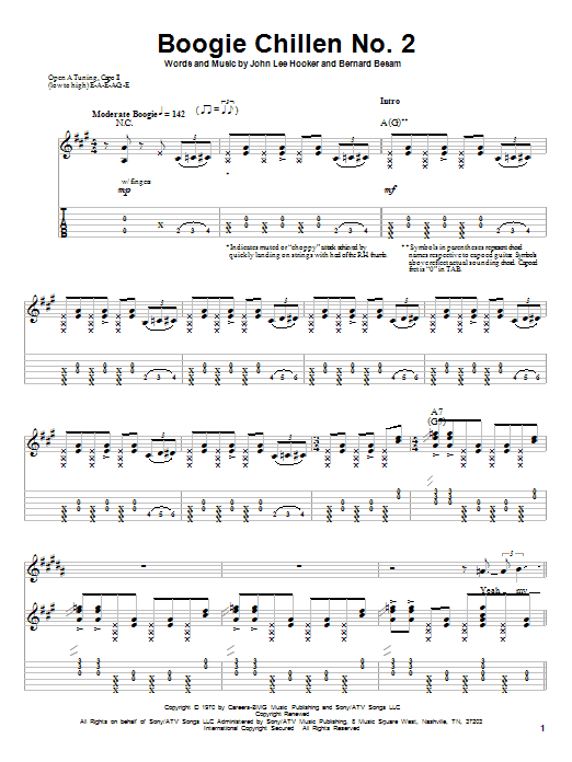 John Lee Hooker Boogie Chillen No. 2 sheet music notes and chords. Download Printable PDF.