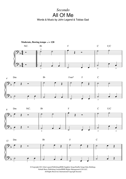 John Legend All Of Me sheet music notes and chords