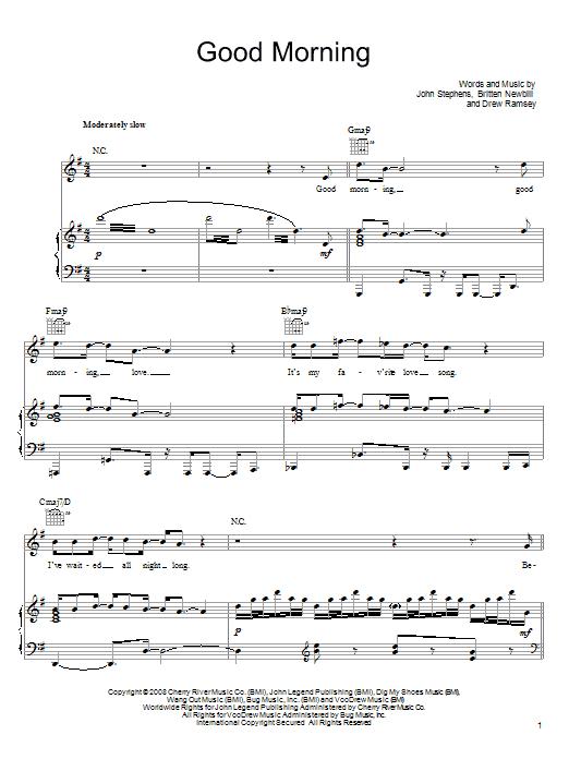 John Legend Good Morning sheet music notes and chords. Download Printable PDF.
