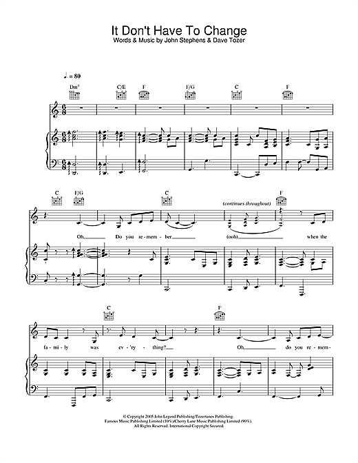 John Legend It Don't Have To Change sheet music notes and chords. Download Printable PDF.
