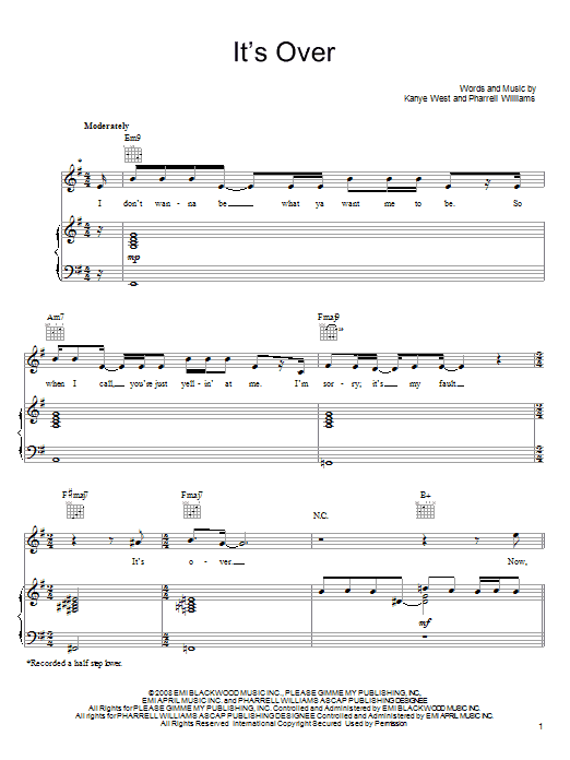 John Legend It's Over sheet music notes and chords. Download Printable PDF.