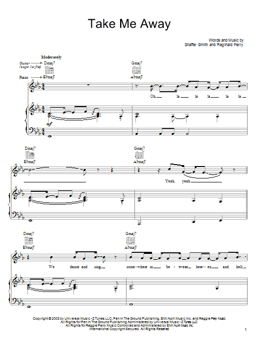 John Legend Take Me Away sheet music notes and chords. Download Printable PDF.