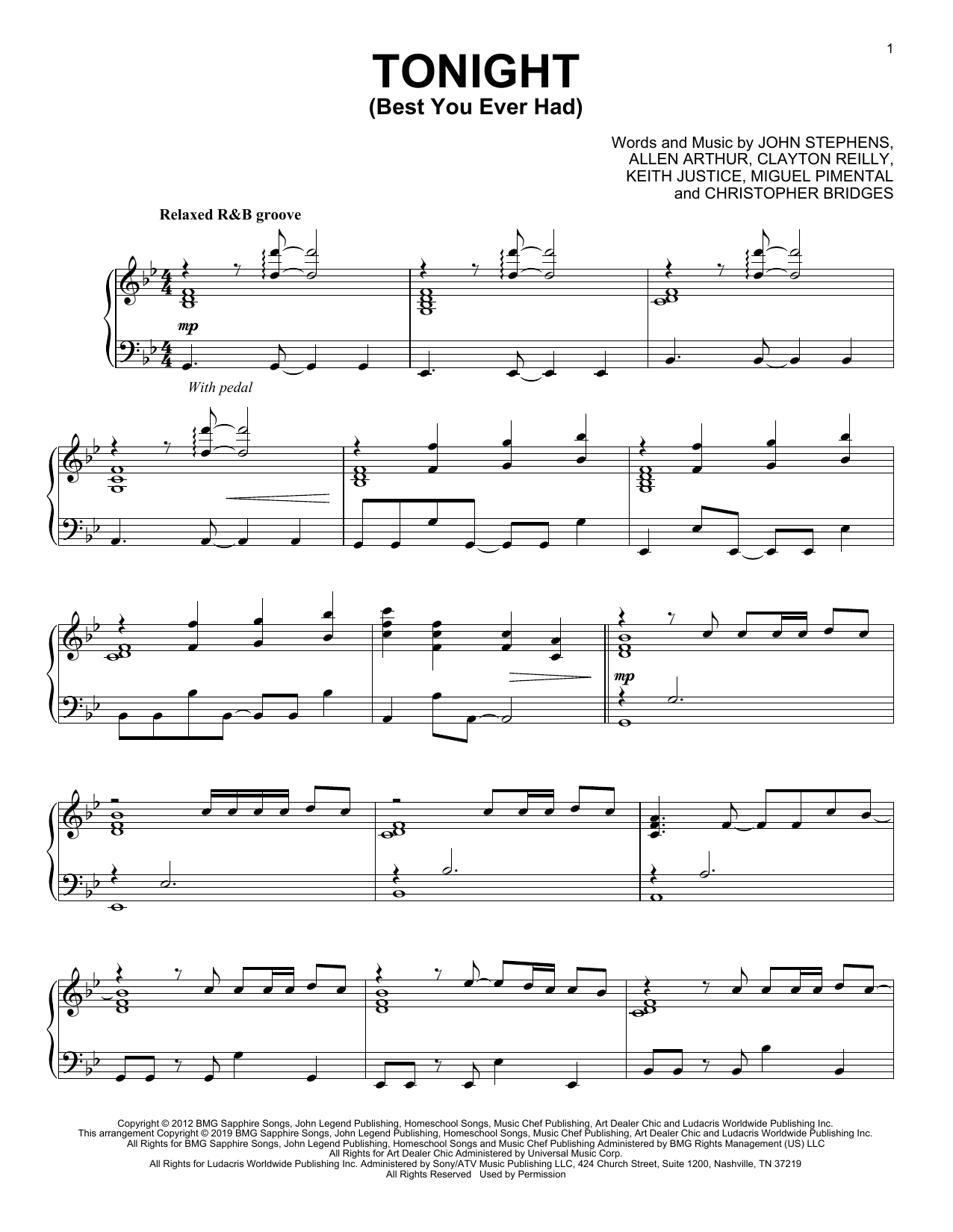 John Legend Tonight (Best You Ever Had) (feat. Ludacris) (from Think Like a Man) sheet music notes and chords