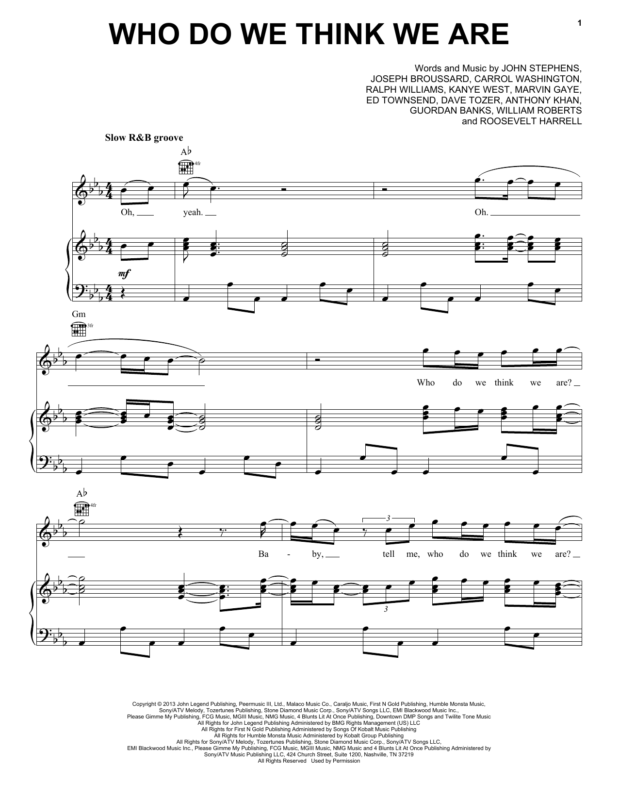John Legend Who Do We Think We Are sheet music notes and chords