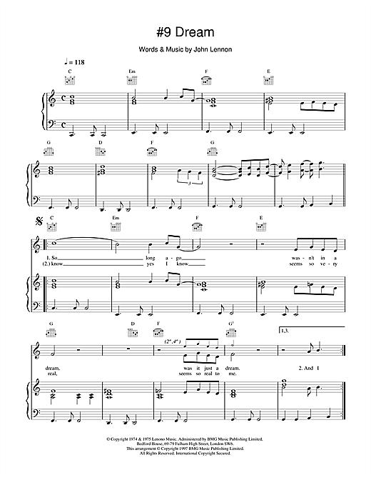 John Lennon #9 Dream sheet music notes and chords