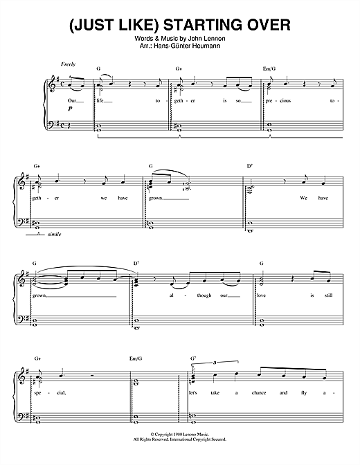 John Lennon (Just Like) Starting Over sheet music notes and chords. Download Printable PDF.