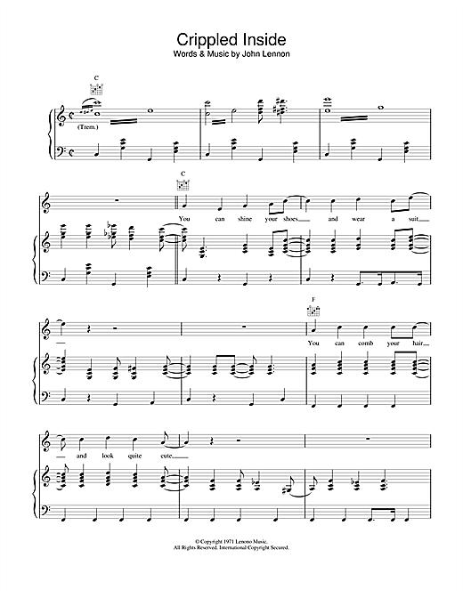 John Lennon Crippled Inside sheet music notes and chords. Download Printable PDF.