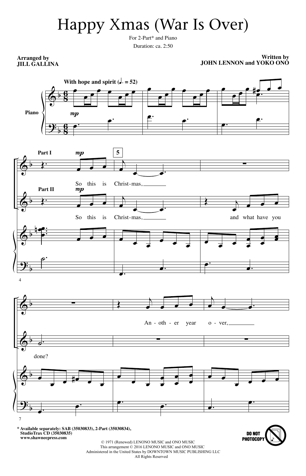 John Lennon Happy Xmas War Is Over Arr Jill Gallina Sheet Music Pdf Notes Chords Christmas Score 2 Part Choir Download Printable Sku 195638