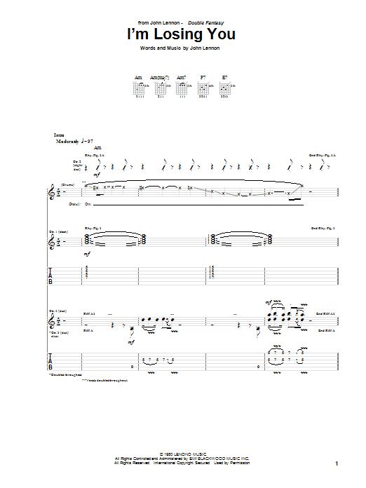 John Lennon I'm Losing You sheet music notes and chords. Download Printable PDF.