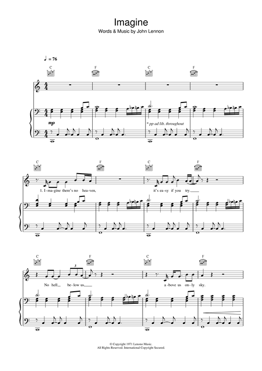 John Lennon Imagine sheet music notes and chords. Download Printable PDF.