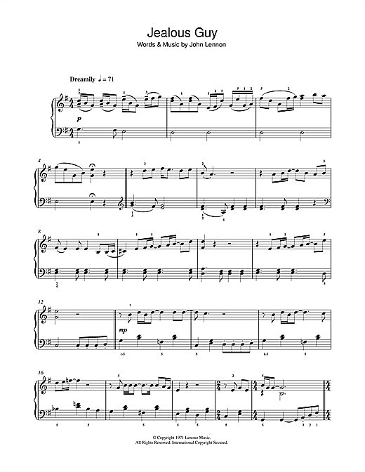 John Lennon Jealous Guy sheet music notes and chords. Download Printable PDF.
